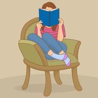 jeune femme, lecture livre, sur, chaise vecteur
