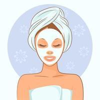 femme de spa avec un masque de beauté vecteur