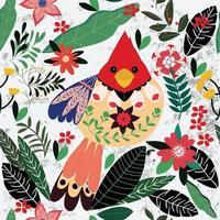 oiseau d'été coloré dans le jardin fleuri vecteur