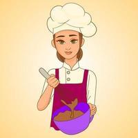 chef fille cuisine vecteur