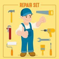 ouvrier du bâtiment avec équipement et accessoires vecteur