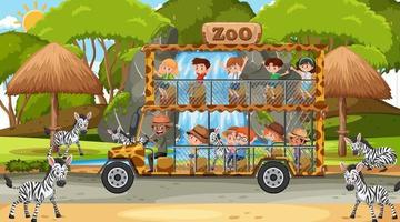 Safari à la scène de jour avec des enfants regardant un groupe de zèbres vecteur
