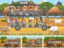 différentes scènes de safari avec des animaux et des enfants vecteur