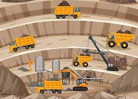 paysage de la scène de l & # 39; extraction du charbon avec grue et camions vecteur