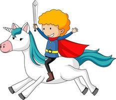 personnage de dessin animé simple d'un prince chevauchant une licorne isolée vecteur