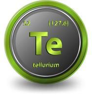 Symbole chimique de l'élément chimique tellure avec numéro atomique et masse atomique vecteur