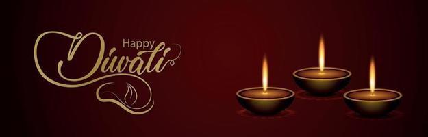 joyeux festival indien de diwali de bannière lumineuse ou en-tête vecteur