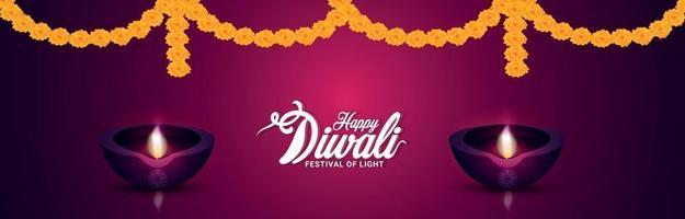bannière d'invitation joyeux diwali avec fleur de guirlande vecteur
