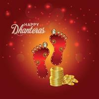 festival indien joyeux dhanteras célébration carte de voeux et fond avec pièce d'or créative et empreinte de laxami de la déesse vecteur