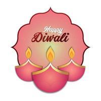 joyeux festival indien de diwali carte de voeux de lumière avec diwali diya créatif vecteur