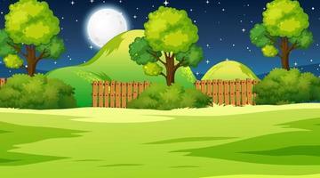 scène de paysage de prairie vierge pendant la nuit vecteur