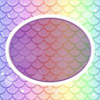 modèle de cadre ovale sur fond d'écailles de poisson arc-en-ciel pastel vecteur