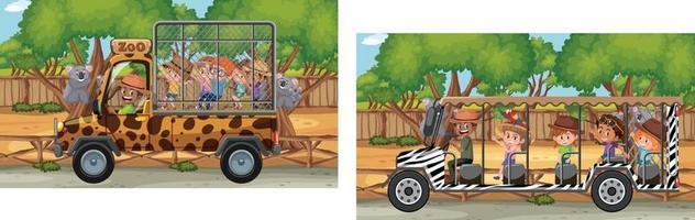 scène de zoo avec des enfants dans la voiture de tourisme vecteur