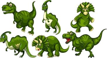 ensemble de personnage de dessin animé de dinosaure vert vecteur
