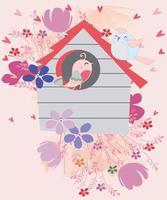 couple d & # 39; oiseaux dans la maison de fleurs vecteur