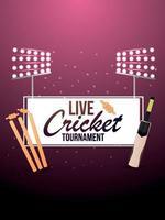 match de cricket en direct avec fond de stade et équipement de cricket vecteur