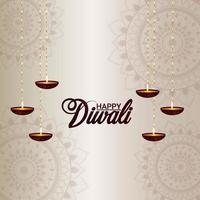 carte de voeux festival indien diwali avec diwali diya créatif vecteur