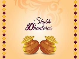 Carte de voeux joyeux festival indien dhanteras avec illustration vectorielle pot de pièce d'or vecteur