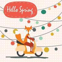 mignon printemps renard promenades en moto vecteur