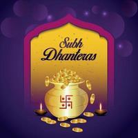 Carte de voeux d'invitation de célébration de shubh dhanteras avec pot de pièce d'or créatif vecteur