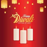 carte de voeux joyeux diwali invitation, diwali le fond du festival de l'inde vecteur