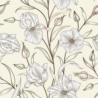 motif floral sans soudure. s'épanouir fond carrelé. croquis dessin ornement avec fleurs iris vecteur