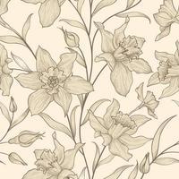 motif floral sans soudure. fond de fleur de jonquille. texture ornementale de carreaux floraux avec des fleurs. jardin fleuri de printemps vecteur