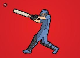 joueur de cricket frappe l'action de la balle vecteur