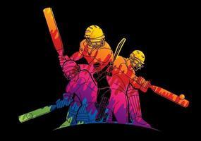 groupe abstrait de joueurs de cricket vecteur