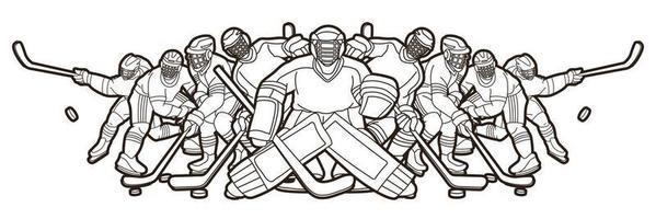 Contour de l'équipe de joueurs de hockey sur glace hommes vecteur