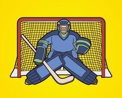 gardien de but de joueur de hockey sur glace vecteur