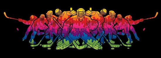 Équipe de joueurs de hockey sur glace hommes vecteur