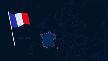 france sur illustration vectorielle de carte europe. Carte de haute qualité de l'europe avec les frontières des régions sur fond sombre avec le drapeau national. vecteur