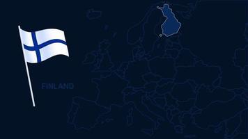 Finlande sur l'illustration vectorielle de carte de l'europe. Carte de haute qualité de l'europe avec les frontières des régions sur fond sombre avec le drapeau national. vecteur