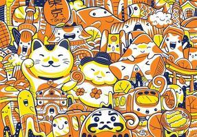 illustration vectorielle de tokyo city landmarks vecteur