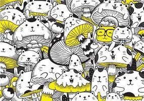 coloriage mignon pour les enfants avec des chats et des champignons vecteur