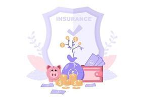 illustration d & # 39; assurance d & # 39; investissement pour les entreprises avec protection de l & # 39; argent, épargne, bouclier ou conception de sécurité vecteur
