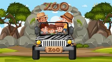 zoo à la scène de jour avec de nombreux enfants dans une voiture jeep vecteur