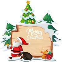 Joyeux Noël logo de polices sur planche de bois avec personnage de dessin animé de Noël sur fond blanc vecteur