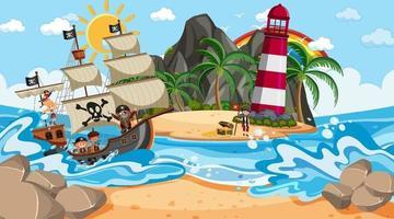 plage de jour avec personnage de dessin animé enfants pirate vecteur