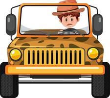 concept de zoo avec chauffeur homme en voiture jeep isolée vecteur