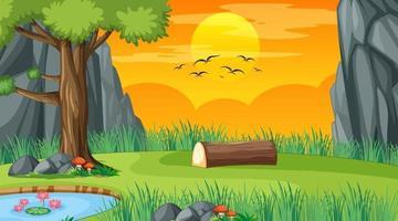 paysage de parc naturel vierge à la scène du coucher du soleil vecteur