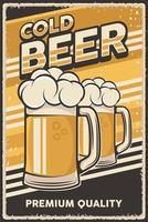 illustration vectorielle rétro illustration vintage de bière froide pour une affiche ou une signalisation en bois vecteur