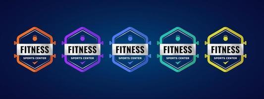 modèle d'insigne de logo de centre sportif de remise en forme. design coloré avec élément de sport. illustration vectorielle. vecteur