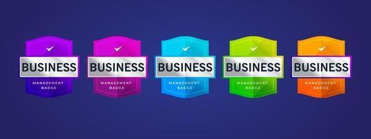 Logo de badge 3D coloré avec la conception de l'emblème du bouclier. label d'entreprise ou certification d'autocollant. vecteur