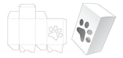 boîte d'emballage avec grand modèle de découpe de fenêtre en forme d'impression de pied de chien vecteur