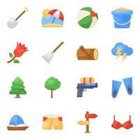 jeu d & # 39; icônes de voyage et de vacances vecteur