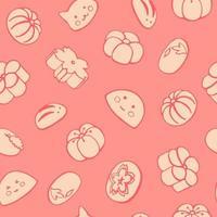 modèle sans couture avec desserts japonais, bonbons, mochi, wagashi. illustration vectorielle dessinés à la main dans le style de croquis. parfait pour les salutations, les invitations, la fabrication de papier d'emballage, le textile et la conception de sites Web. vecteur