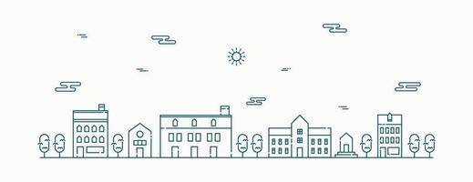 paysage de vecteur avec maisons, bâtiment, arbre, ciel. paysage de banlieue. vecteur de conception art ligne plate.
