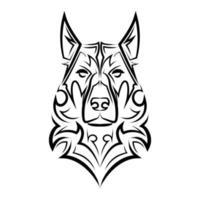 dessin au trait noir et blanc de la tête de chien de berger allemand. vecteur